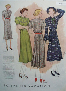 Ladies Spring Vacation Fashions Patterns Ad 1937