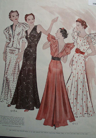 Attention Calling Ladies Fashion Gowns Ad 1937