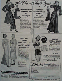 Jonas Shoppes Lovely Lingerie Ad 1951