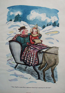 Cartoon by Shermund In a Sleigh 1950