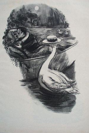 Cartoon by Dedini Swan Wearing Hat 1949
