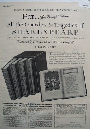Book Of Month Club Comedy of Shakespeare Ad 1947