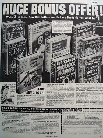 Doubleday Book Club Huge Bonus Offer Ad 1953