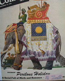 Colliers Magazine Cover 10 21 44 Soldier on Elephant 1944
