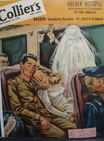 Colliers Magazine Cover Bride On Train 1945
