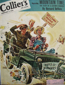 Colliers Magazine Cover 1946 Soldier in Jeep