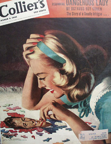 Colliers Magazine Cover Lady And Puzzle 1946