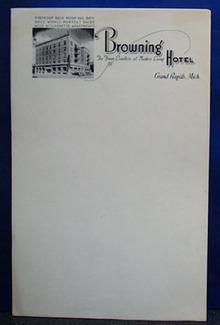 6 pages of stationery from the Browning Hotel