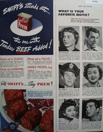Swifts Prem Tender beef added 1948 Ad