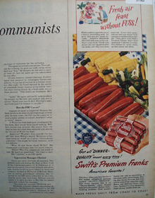 Swift Premium Franks Americas favorite 1949 Ad