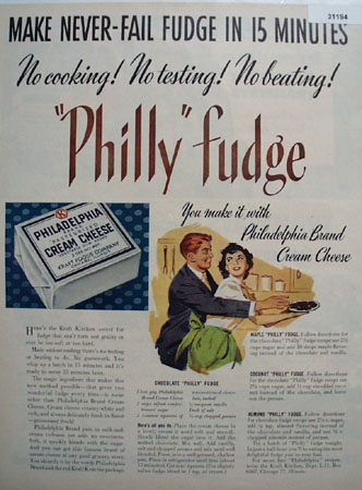 Philadelphia Cream Cheese Philly Fudge 1951 Ad