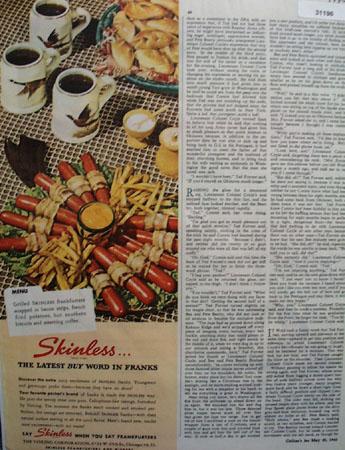 Skinless grilled Frankfurters 1946 Ad