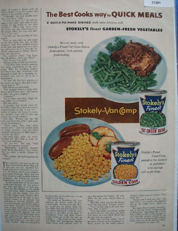 Stokleys Garden Fresh Vegetables 1954 Ad