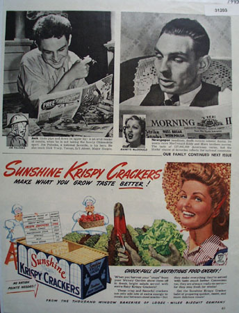 Sunshine Krispy Crackers 1943 Ad
