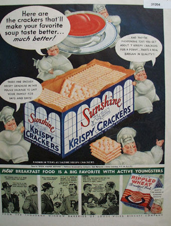 Sunshine salted Krispy Crackers 1937 Ad