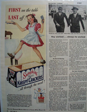 Loose wiles Sunshine Krispy Crackers 1944 Ad