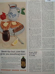 Sunsweet Prune Juice Something Extra 1954 Ad