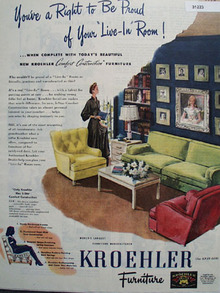 Kroehler Comfort construction furniture 1945 Ad