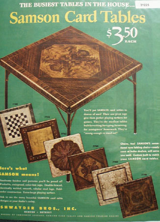 Samson Card Table 1946 Ad