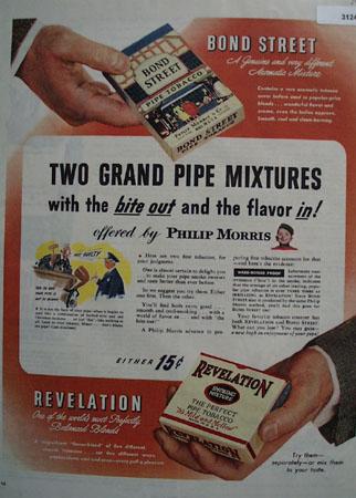 Phillip Morris Bond street Smoking Mixtures 1945 Ad