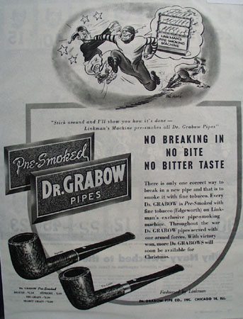 Grabow Pipe Co. Dr. Grabow Pipes 1945 Ad