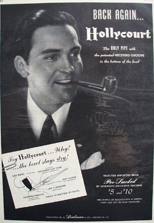 Linkman Hollycourt Pipe With Recessed groove 1947 Ad