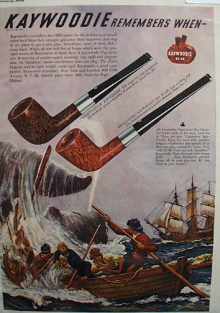 Kaywoodie Ninety Fiver and Centennial Pipe 1949 Ad