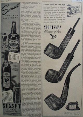 John Hudson Moore Sportsman Pipe 1947 Ad