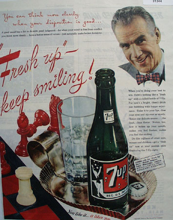 7 UP Keep Smiling 1945 Ad