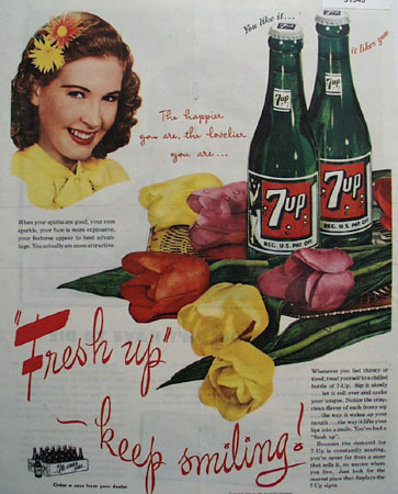 7 UP Happier and Lovelier 1945 Ad