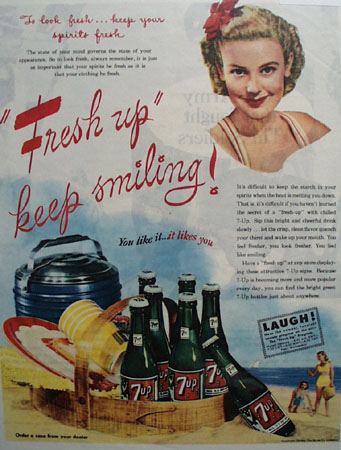 7 UP Look Fresh 1945 Ad