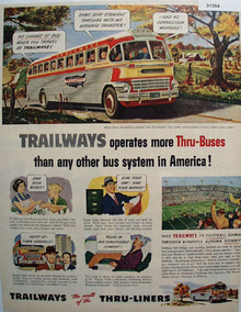 Trailways Thru Liners Bus 1951 Ad