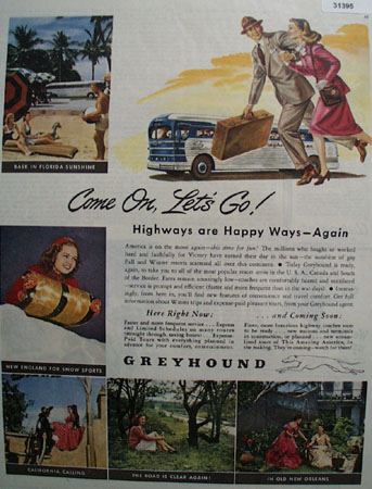 Greyhound Bus Come on Lets Go 1945 Ad