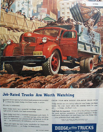 Dodge Job Rated trucks 1945 Ad