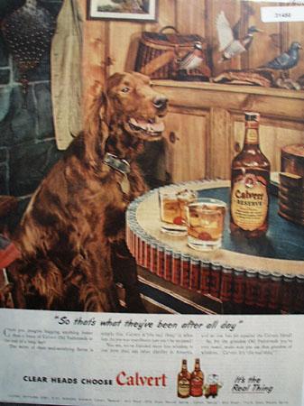 Calvert Whiskey Hunting 1945 Ad