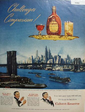 Calvert Whiskey Comparison 1950 Ad