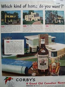 Corbys Whiskey Homes 1946 Ad