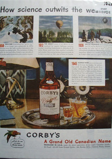 Corbys Whiskey Weather 1945 Ad