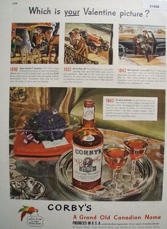 Corbys Whiskey Valentine 1947 Ad