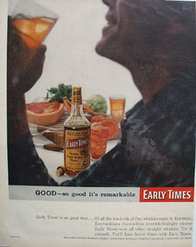 Early Times Kentucky Bourbon Whiskey 1952 Ad