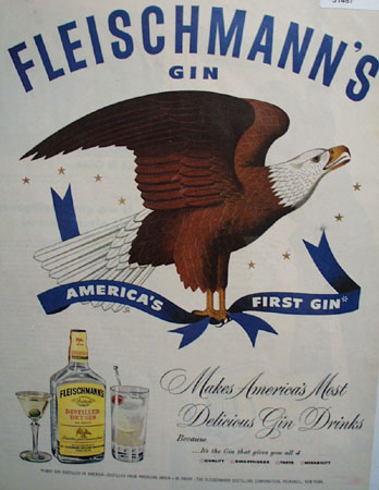Fleischmanns Gin Eagle 1951 Ad