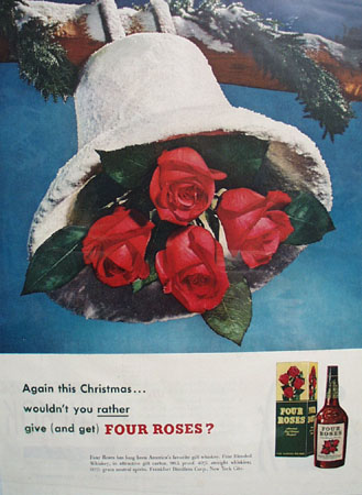 Four Roses Christmas bell 1949 Ad