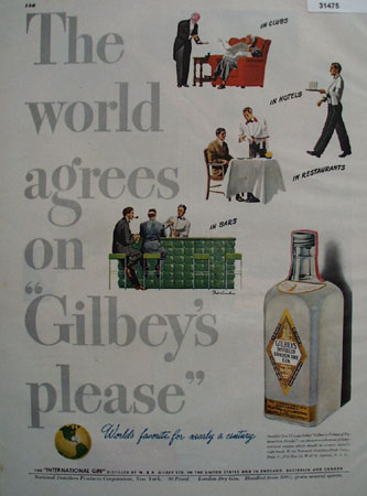 Gilbeys London Distilled Dry Gin 1947 Ad