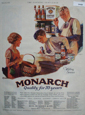 Monarch Coffee Willing Service Ad 1927