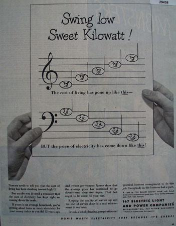 Electric Light Companies Swing Low Kilowatt Ad 1945