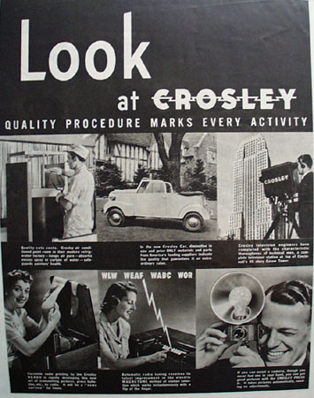 Crosley Quality Procedure Ad 1939