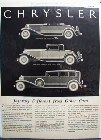 Chrysler Joyously Different From Other Cars Ad 1931