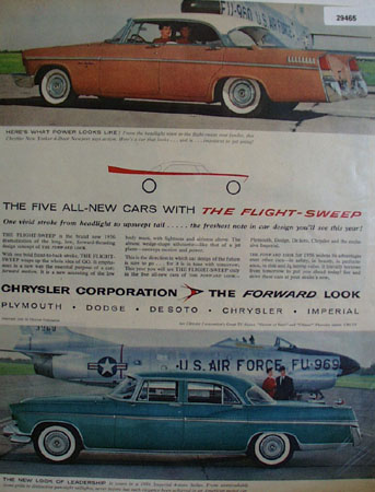 Chrysler Cars With Flight Sweep Ad 1955