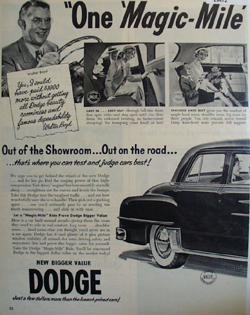 Dodge One Magic Mile Ad 1950