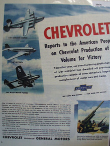 Chevrolet Production of Volume for Victory Ad 1945